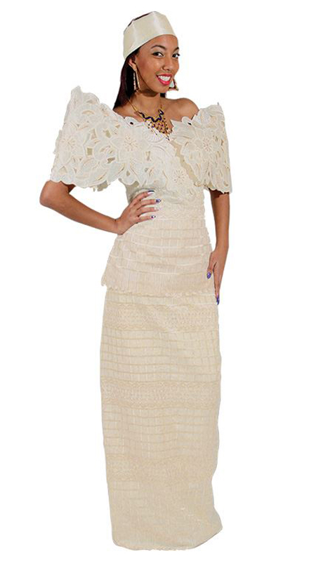 Heritage C-WF439-N ( 3pc Butterfly Lace Flower Skirt Set With Head Wrap )
