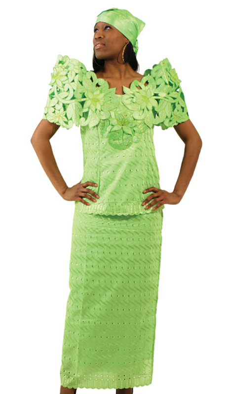 Heritage C-WF439-L ( 3pc Butterfly Lace Flower Skirt Set With Head Wrap )