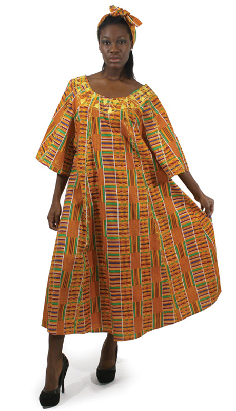 Heritage C-WF609-1 ( 2pc Kente Umbrella Dress And Head Wrap )