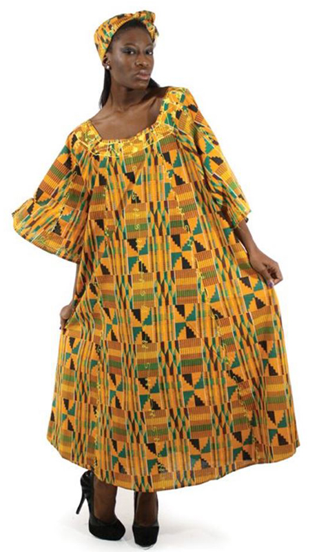 Heritage C-WF609-2 ( 2pc Kente Umbrella Dress And Head Wrap )