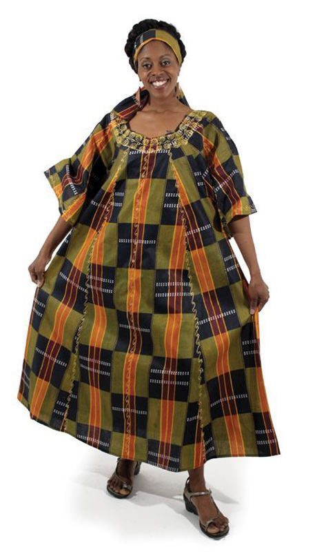 Heritage C-WF609-3 ( 2pc Kente Umbrella Dress And Head Wrap )