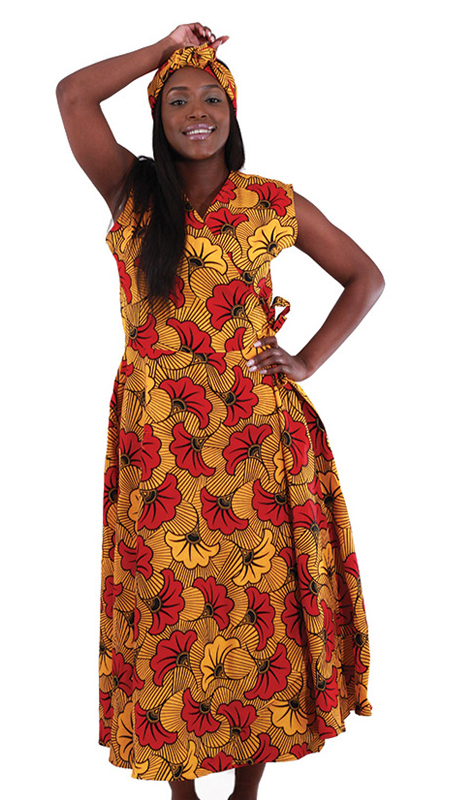 Heritage C-WH161 ( 2pc Women's Sleeveless Wrap Dress In Traditional Floral Print With Two Ties At Waist With Matching Head Wrap )