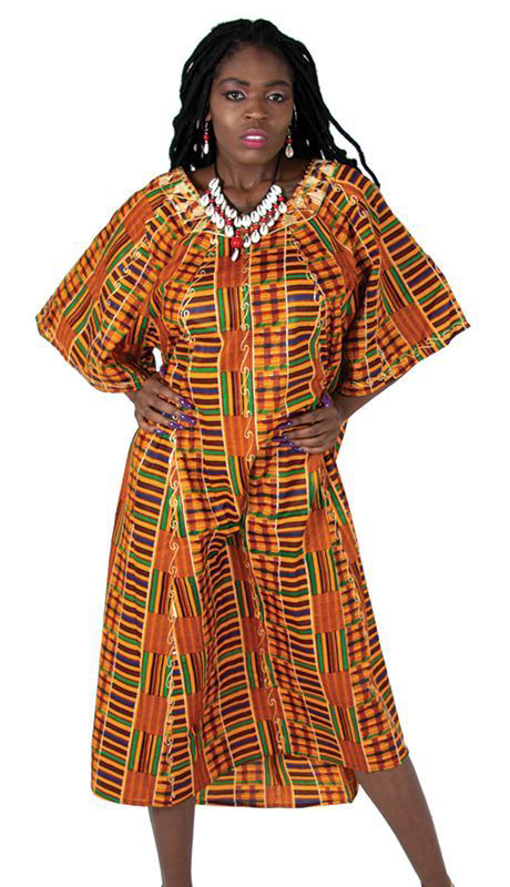Heritage C-WF609-5 ( 2pc Kente Umbrella Dress And Head Wrap )