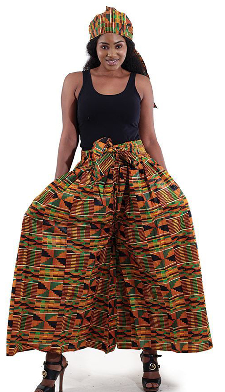 Heritage C-WH079-1 ( 2pc Kente Palazzo Flared Pants And Head Wrap )