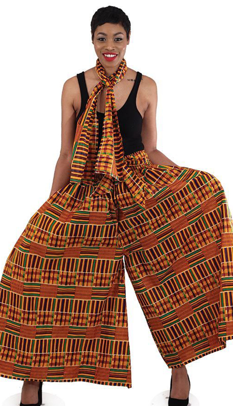 Heritage C-WH079-2 ( 2pc Kente Palazzo Flared Pants And Head Wrap )