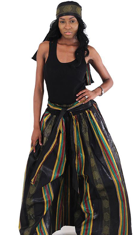 Heritage C-WH079-3 ( 2pc Kente Palazzo Flared Pants And Head Wrap )