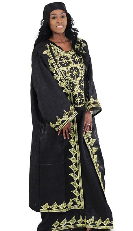 Heritage C-WH361-BLK ( 3pc African Queen Dress And Jacket Set With Head Wrap )