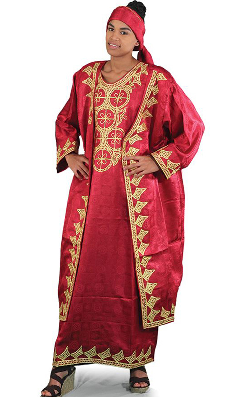 Heritage C-WH361-Burg ( 3pc African Queen Dress And Jacket Set With Head Wrap )