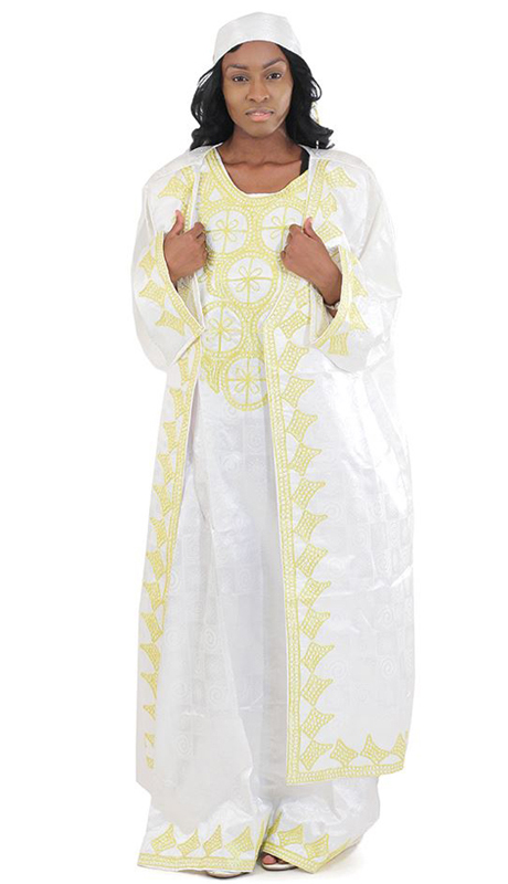 Heritage C-WH361-W ( 3pc African Queen Dress And Jacket Set With Head Wrap )