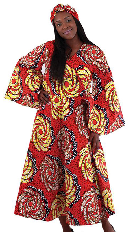 Heritage C-WH170 ( 2pc Women's African Print Wrap Dress In Traditional Floral Batik Pattern With Two Tie Straps With Matching Head Wrap )