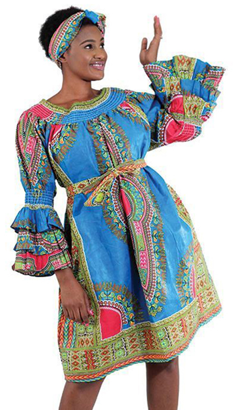 Heritage C-WH363-LB ( 2pc Traditional Print Flare Dress With Contrasting Design With Matching Head Wrap )