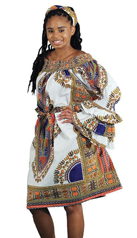 Heritage C-WH363-W ( 2pc Traditional Print Flare Dress With Contrasting Design With Matching Head Wrap )