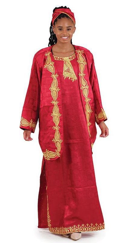 Heritage C-WK001-Burg ( 3pc African Goddess Dress And Jacket Set With Matching Head Wrap )