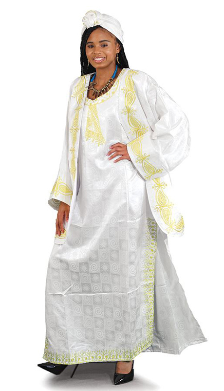 Heritage C-WK001-W ( 3pc African Goddess Dress And Jacket Set With Matching Head Wrap )
