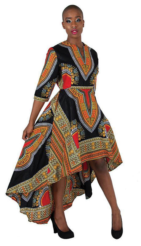 Heritage C-WK023-BLK ( 1pc Formal Traditional Print Hi Lo Dress )