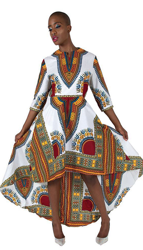 Heritage C-WK023-W ( 1pc Formal Traditional Print Hi Lo Dress )