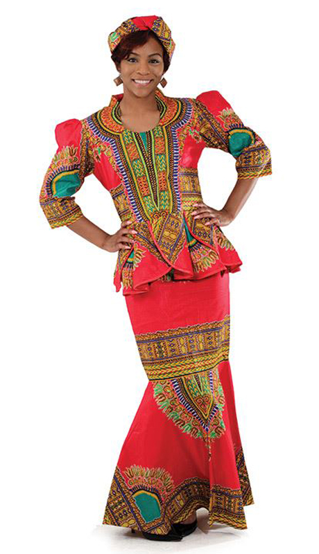 Heritage C-WS833-RM ( 3pc Traditional Print Luxury Skirt Set With Head Wrap )