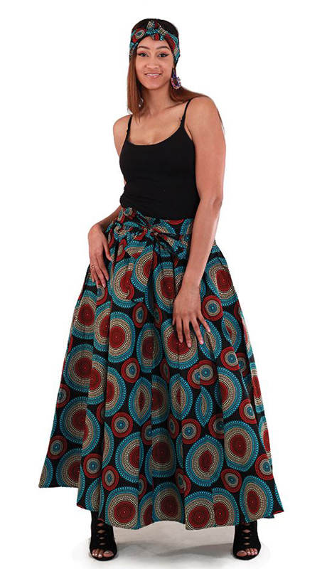 Heritage C-WH199 ( 2pc Black Maxi Skirt With Red With Blue Circle Design With Matching Head Wrap )