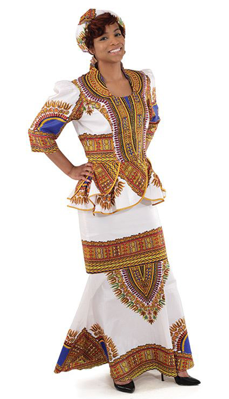 Heritage C-WS833-W ( 3pc Traditional Print Luxury Skirt Set With Head Wrap )