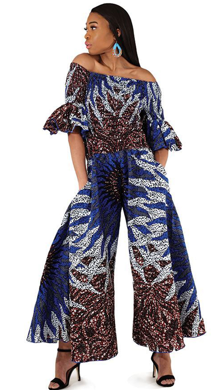 Heritage C-W126 ( 1pc Blue Off Shoulder Jumpsuit )