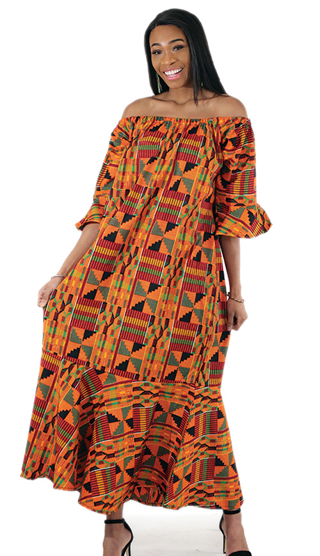 Heritage C-WH387 ( 1pc Orange Kente Dress )