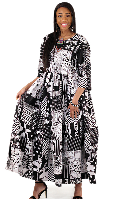 Heritage C-WH386 ( 1pc Black And White Patchwork Long Dress )
