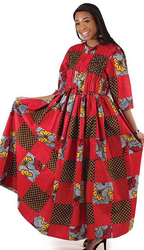 Heritage C-WH385 ( 1pc Red African Print Long Dress )
