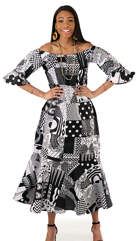 Heritage C-WH382 ( 1pc Black And White Patchwork Long Dress )