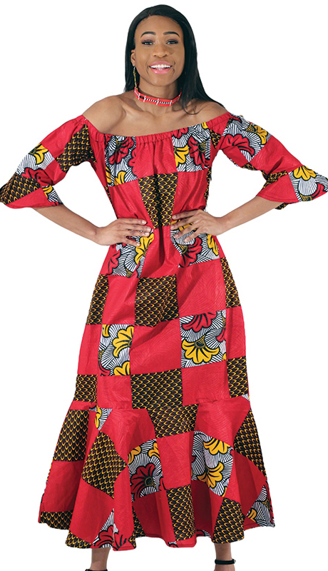 Heritage C-WH380 ( 1pc Red African Print Dress )