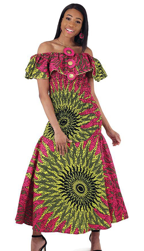 Heritage C-W124 ( 1pc Pink African Made Sun Elastic Dress )