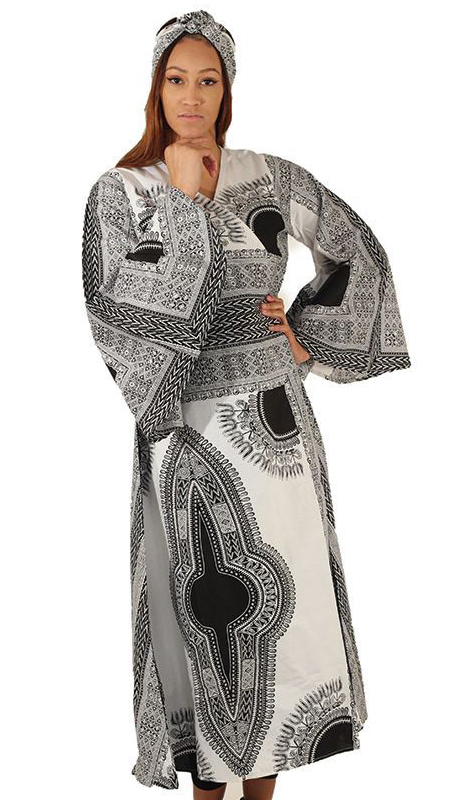 Heritage C-WH143 ( 1pc Dashiki Dress With Head Wrap )