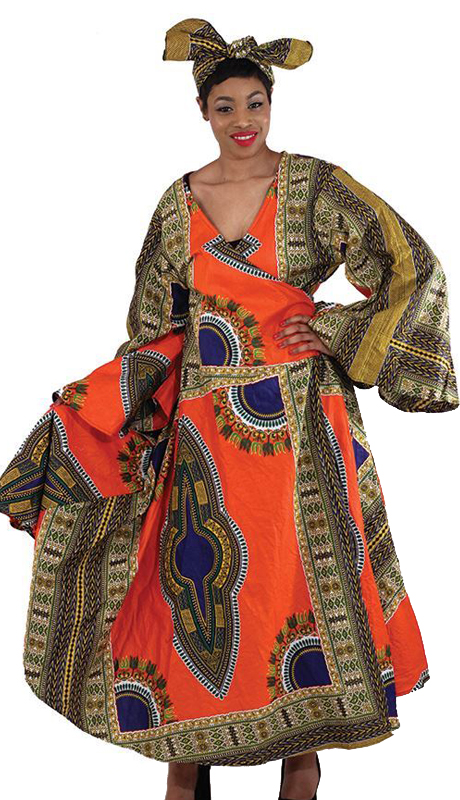 Heritage C-WF938 ( 1pc Traditonal Wrap Dress With Head Wrap )