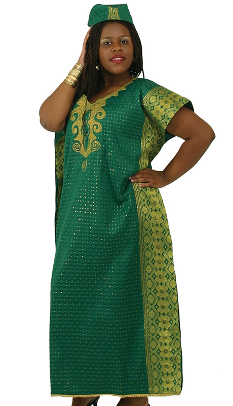 Heritage C-W952-GN ( 1pc Kaftan With Head Wrap )