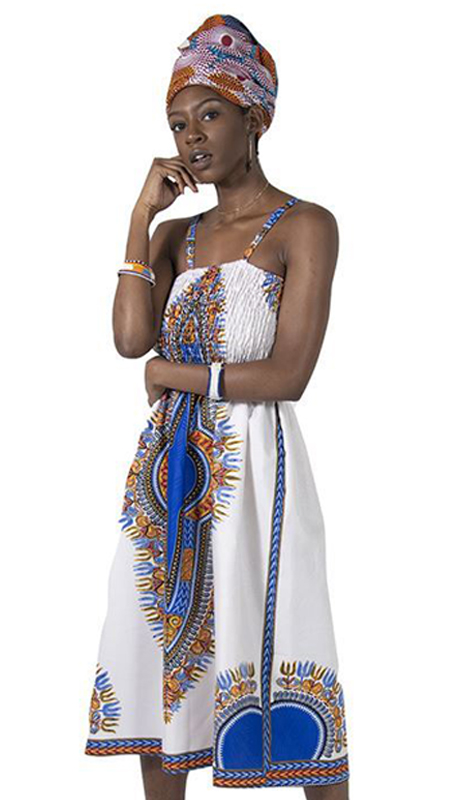 Heritage C-WK078 ( 1pc Traditional Print Mom Dress With Head Wrap )