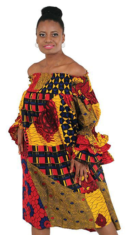 Heritage C-WK072 ( 1pc African Print Smocking Dress )