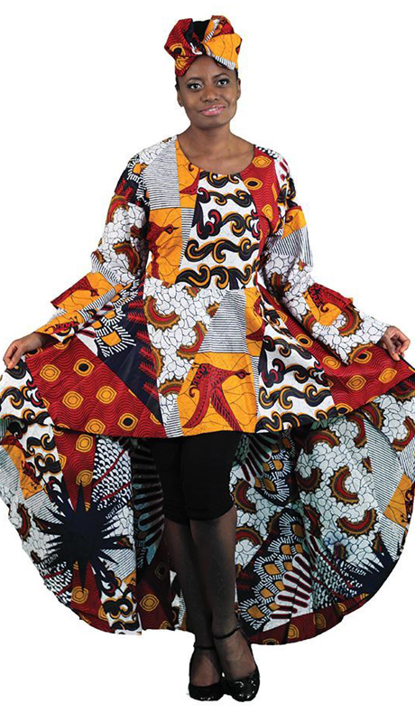 Heritage C-WK071 ( 1pc African Print Hi Lo Ruffle Dress )