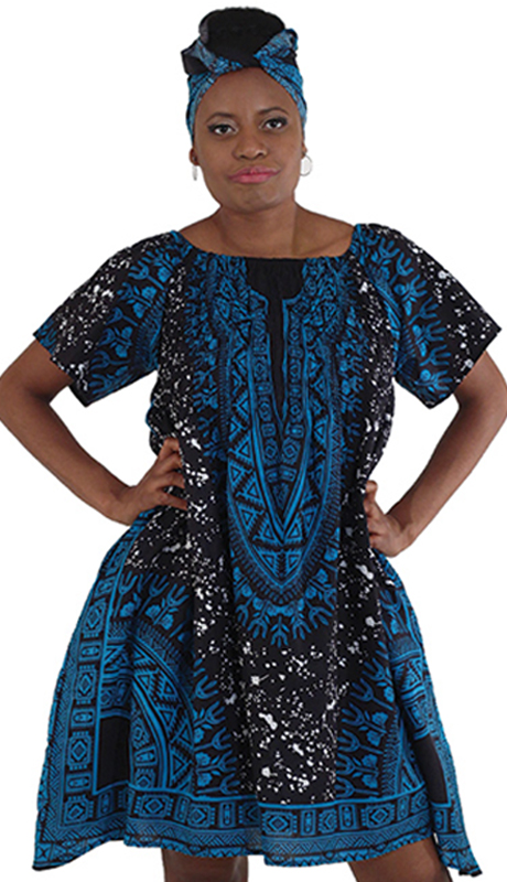 Heritage C-WK064 ( 1pc Traditional Print Paint Spot Dress With Head Wrap )