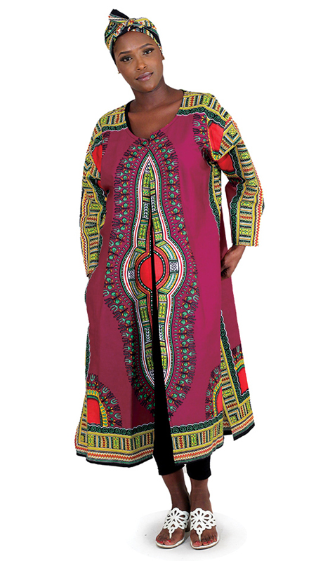 Heritage C-WK086 ( 1pc Traditional Print Long Sleeve Open Kaftan With Head Wrap )