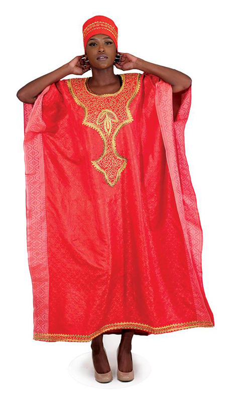 Heritage C-WH372 ( 1pc Red Royalty Kaftan With Head Wrap )