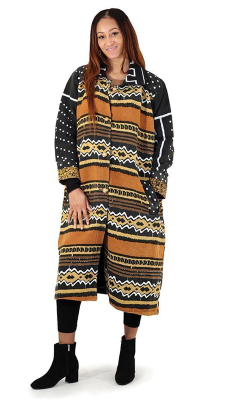Heritage C-W241( 1pc Mud Print Pattern Full Length Coat )