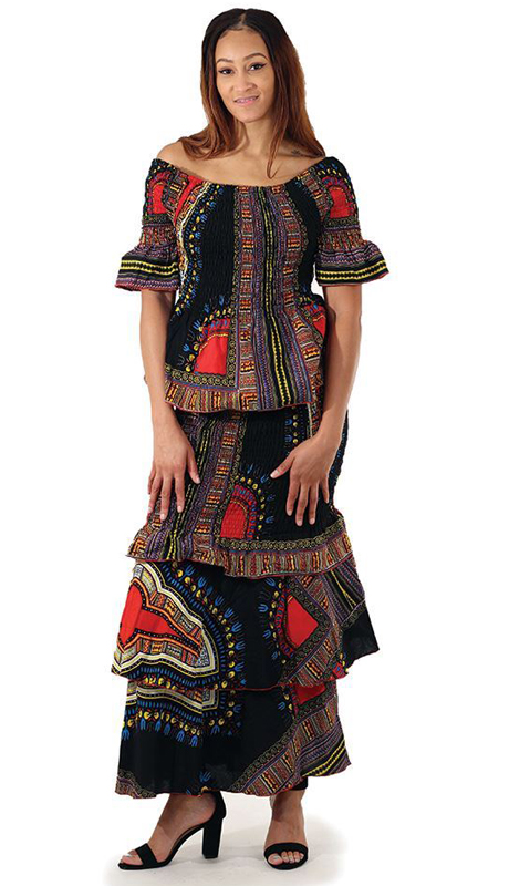 Heritage C-W122 (2pc Traditional Print Stretch Skirt Set )