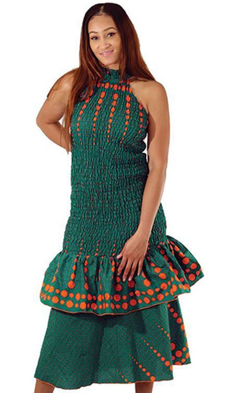 Heritage C-W120 ( 1pc African Circle Print Stretch Dress )