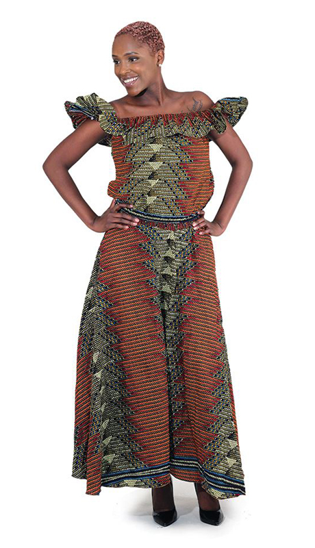Heritage -C-W118 ( 2pc African Made GeometricPrint Skirt Set )