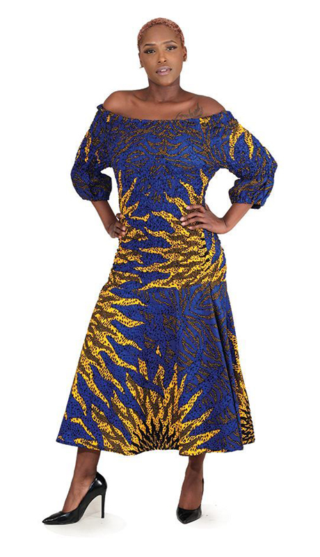 Heritage C-W115 ( 1pc Blue Sun Elastic Dress )