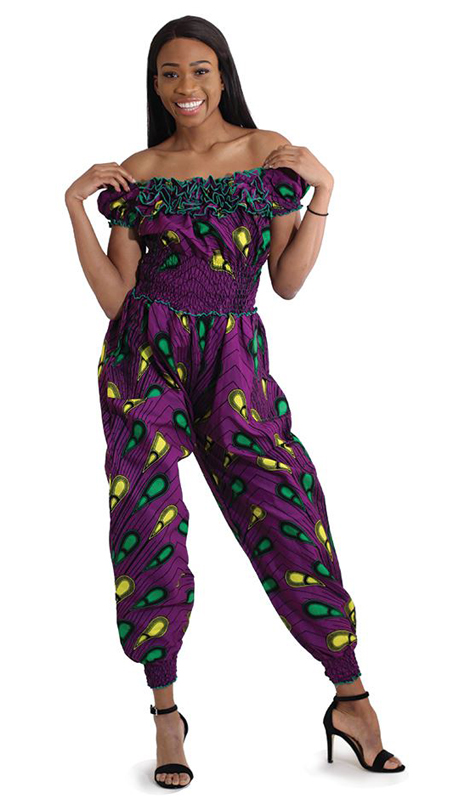Heritage C-W111 ( 1pc Peacock Off Shoulder Jump Suit )