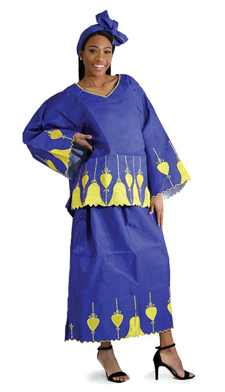 Heritage C-WK084 ( 2pc African Empress Skirt Set With Head Wrap )