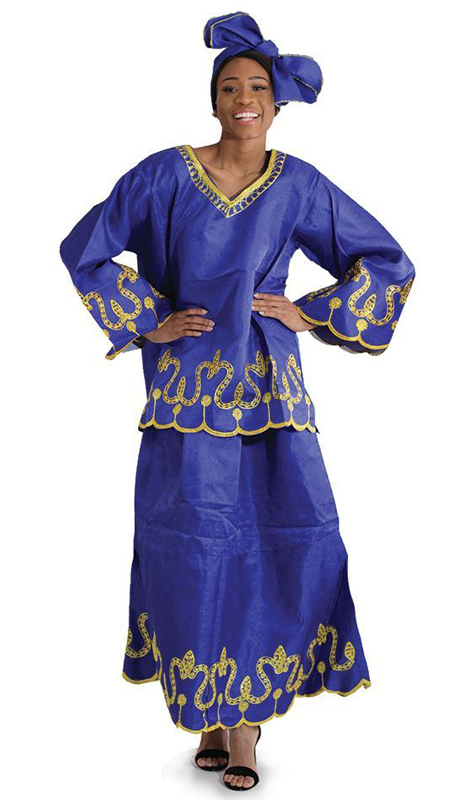 Heritage C-WK081 ( 2pc Nubian Royalty Skirt Set With Head Wrap )