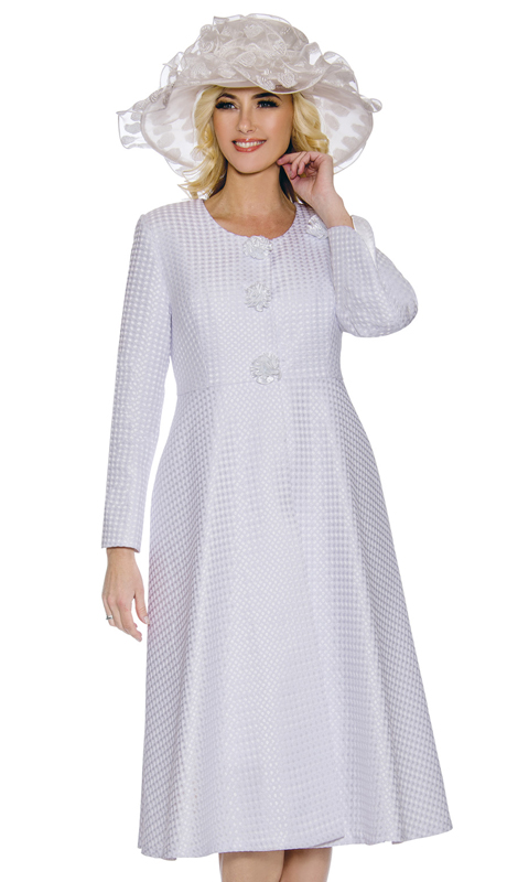 Giovanna 0915-WH ( 2pc Embossed Novelty Ladies Church Dress With Lace And Sequenced Trim )