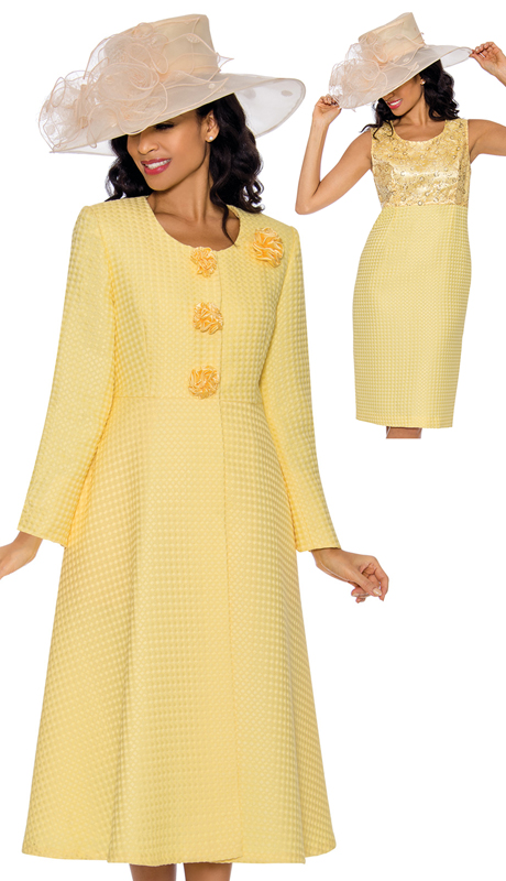 Giovanna 0915-YE-CO ( 2pc Embossed Novelty Ladies Church Dress With Lace And Sequenced Trim )