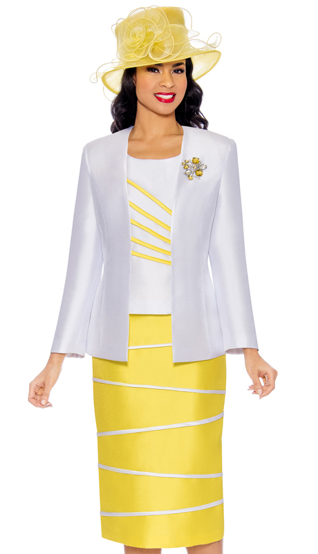 Giovanna G0842-WY ( 3pc Silk Look Womens Suit With Stripe Design Trim And Rhinestone Brooch )